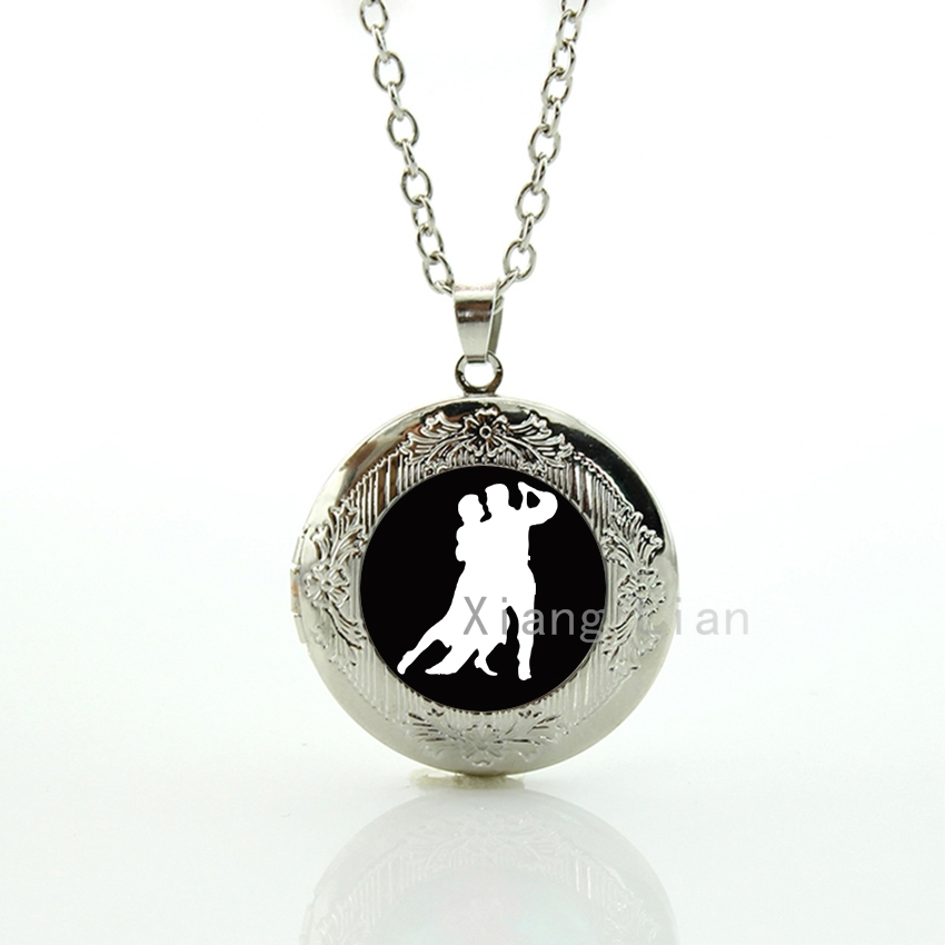 Mother Father gifts romantic graceful international style of ballroom dancing locket necklace Waltz Tango Latin dance gift DC084