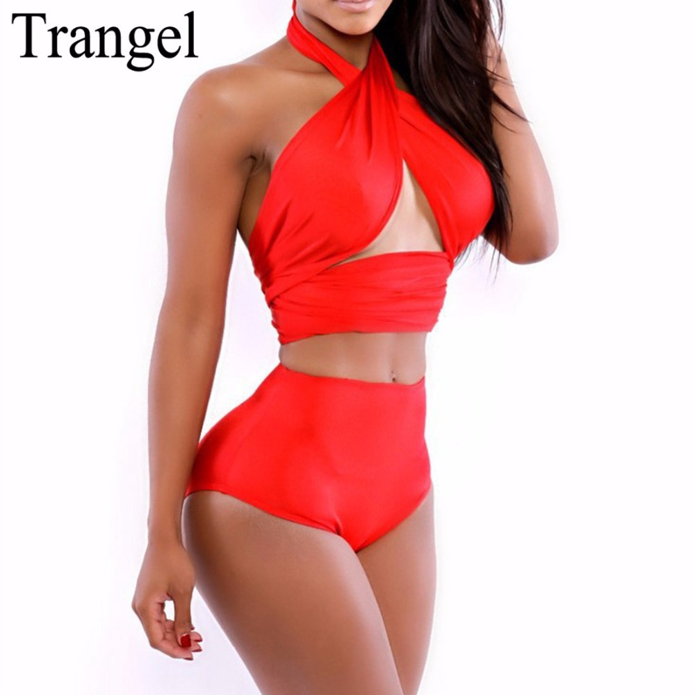 Trangel 2017 Hawaiian Dress High Waist Swimwear High Waist Bikini Set Sexy Swimsuit Plus Size High Waist Swimsuit Bikini Set