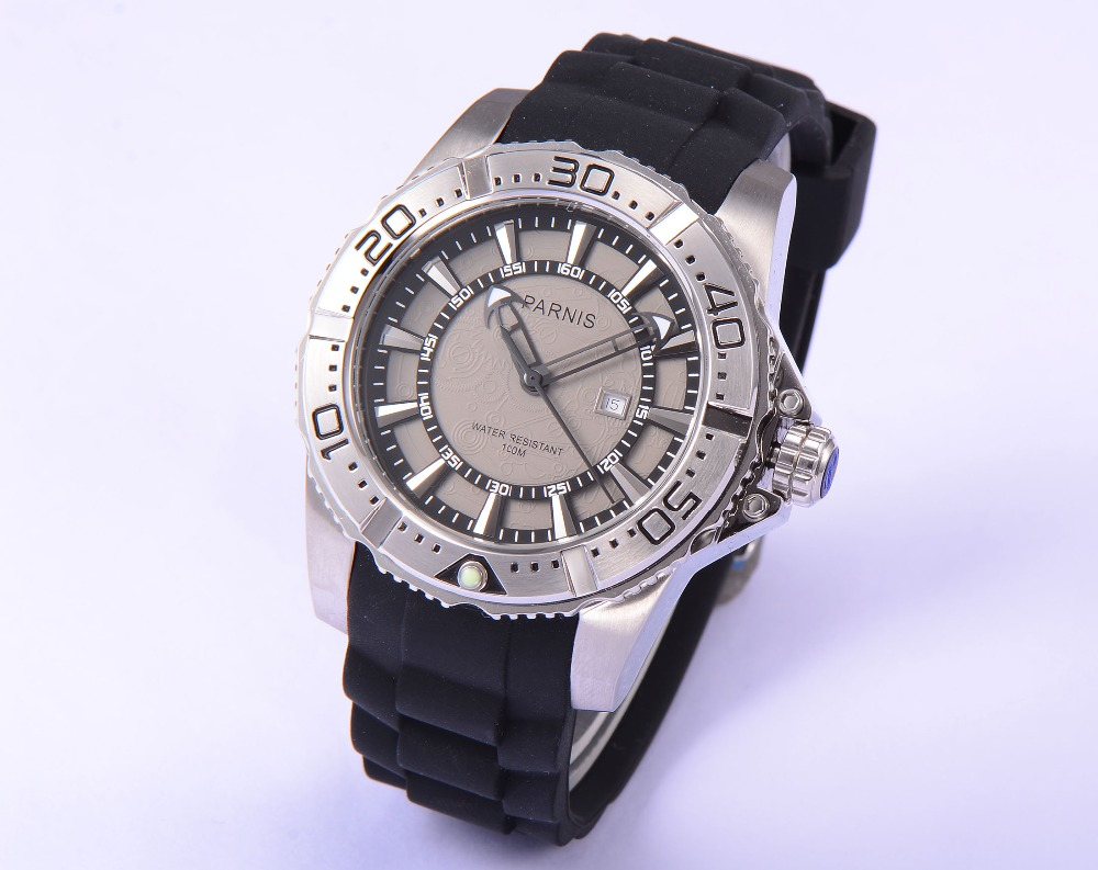 Fashion 45mm Parnis Stainless Steel Case Water Resistant 100M Men s Quartz Watch Gray Dial Good