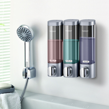 BOSHARON Wall Mount 300ml Liquid Soap Dispensers with Large Opening Double Transparent Bottle for Bathroom and Kitchen