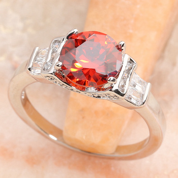 Radient Red Garnet 8*8mm Semi-precious Stone Silver Cool For Women Ring Q2587 image