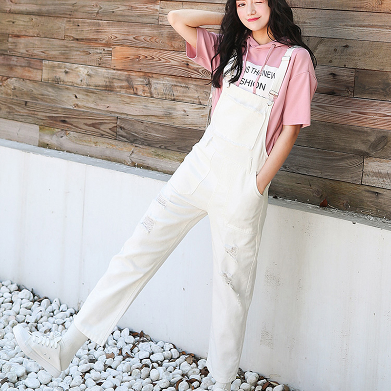 Denim Jumpsuit Women Solid Hole Jeans Jumpsuit Rompers Women Korean Fashion Suspender Monos Largos Mujer Pantalon Largo Overalls 4