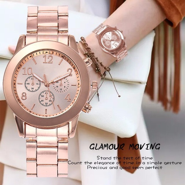 Dropshipping Rose Gold & Silver Women Dress Watch Fashion Casual Ladies Stainles