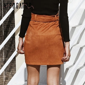 Image 5 - Affogatoo גבוהה מותניים זמש עור חצאיות 2018 סתיו חורף חגורת ruched bodycon חצאית נשים אסימטרית קצר חצאיות נקבה