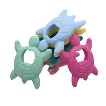 Chenkai 10PCS BPA Free Baby Silicone Turtle Teether Tortoise Teething Food Grade For DIY Nursing Pacifier Chain Gifts