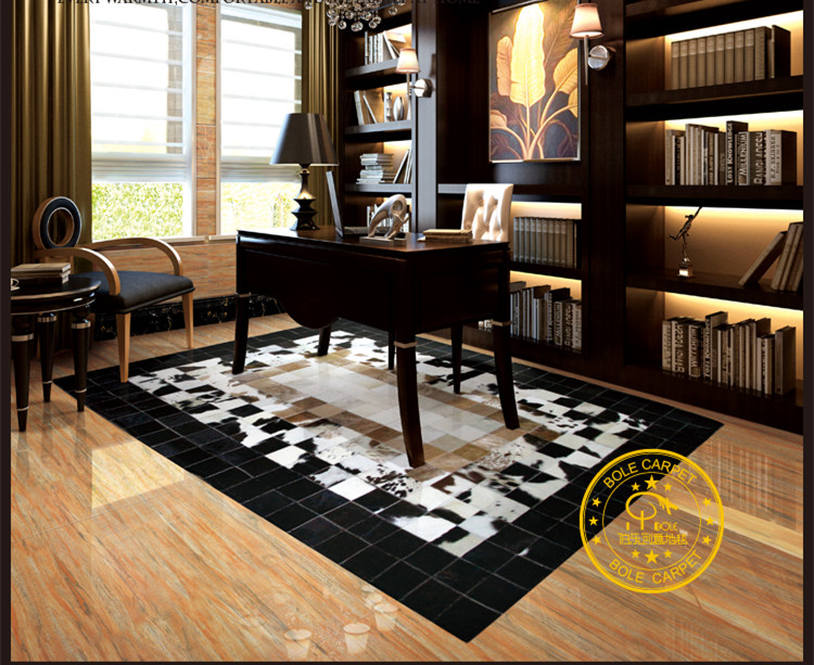2018 Free Shipping 1 Piece Via DHL 100 Natural Genuine Cowhide Rubber Backed Carpet Tiles