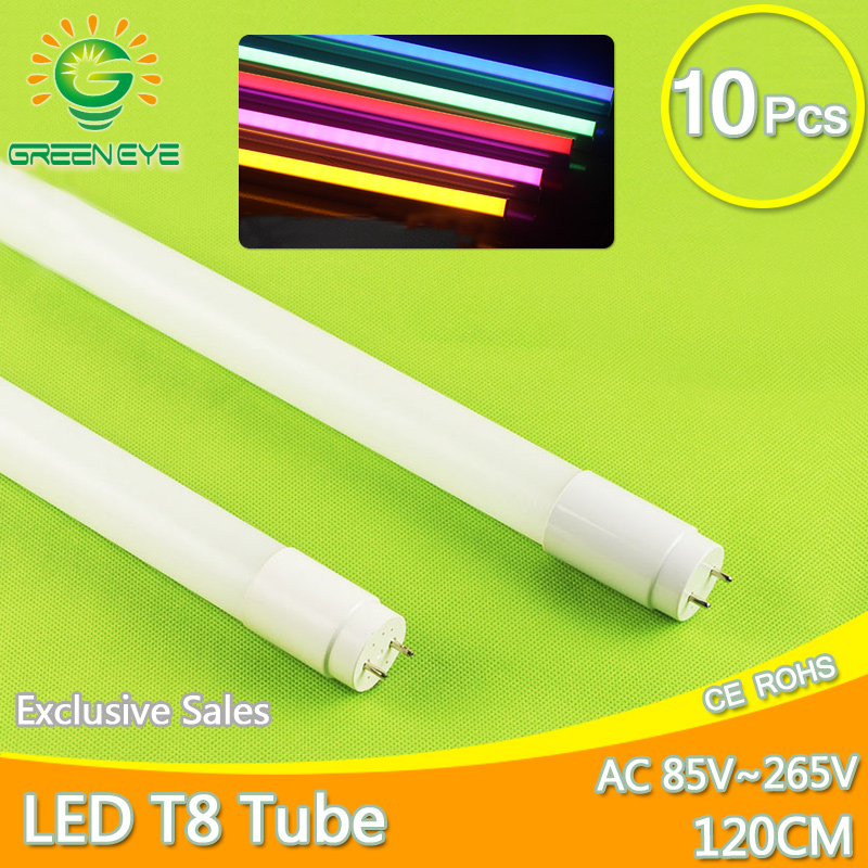 High Bright LED Tube T8 18w 120cm/1200mm AC85-265V 10pcs/lot LED Fluorescent Light Tube LED Lamp milky cover SMD2835 Bulb neon free shipping 12pcs lot ip65 120cm 4ft double led tubes lighting fixture 2 18w 1 2m 1200mm waterproof tubes g13 base tube lamp