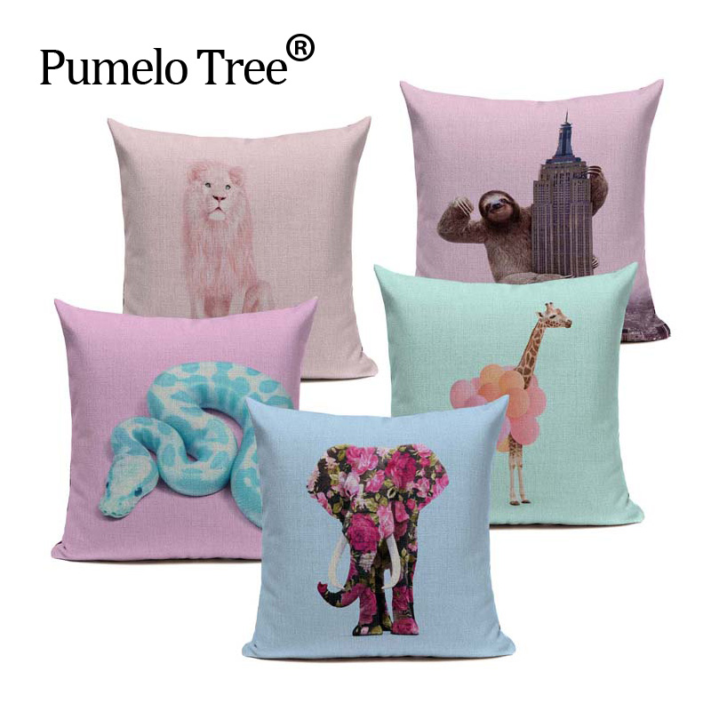 Pink Blue Purple Cushion Cover Aniaml Snake Unicorn Throw Pillow Cotton Linen Decor Bedroom Home Sofa for Car Custom Pillow Case