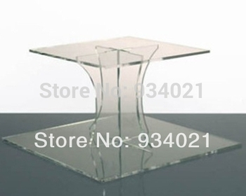 Handmade Sqaure 2 Tier Acrylic Clear Cupcake And Cake Stand