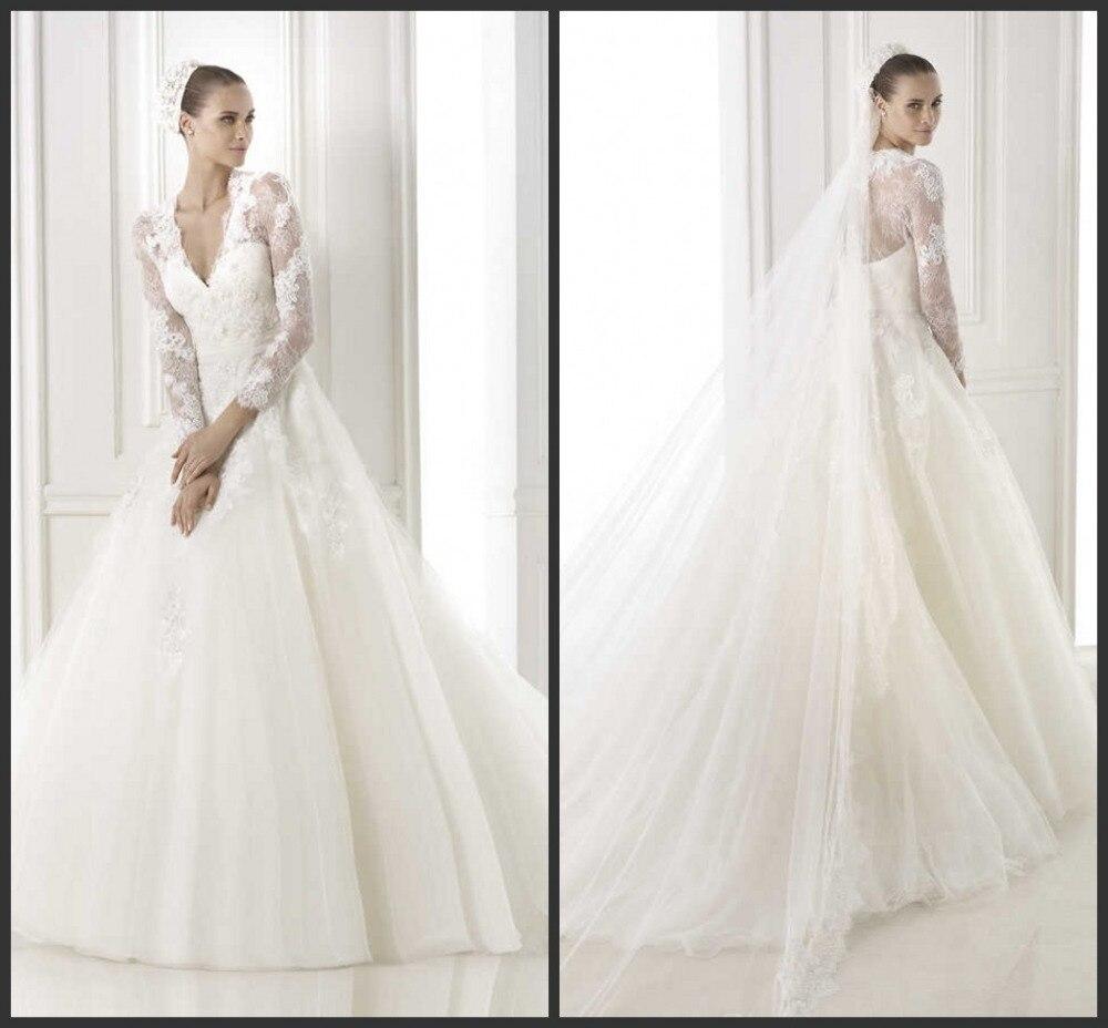 Sheer Lace Applique Long Sleeve Wedding Dress V Neck: Custom Made Exquisite White V Neck A Line Sheer Lace Long