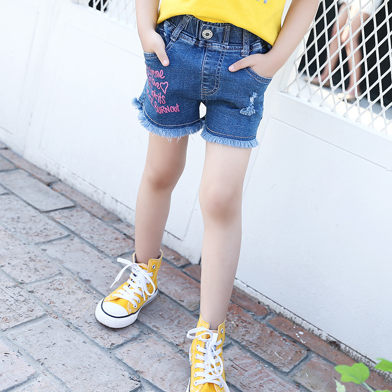 New Summer Girls Denim Shorts Printed Letter Jeans Big kid Girl Cowboy short Pants Fashion Casual