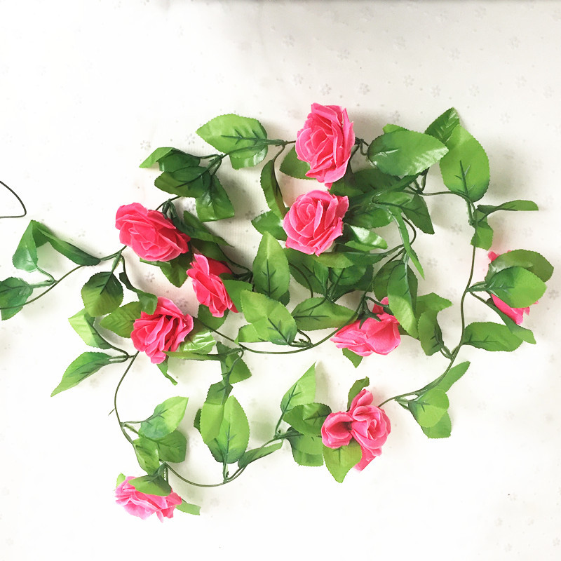 250CM/lot Silk Roses Artificial Flowers With Green Leaves For Home Wedding Decoration 9