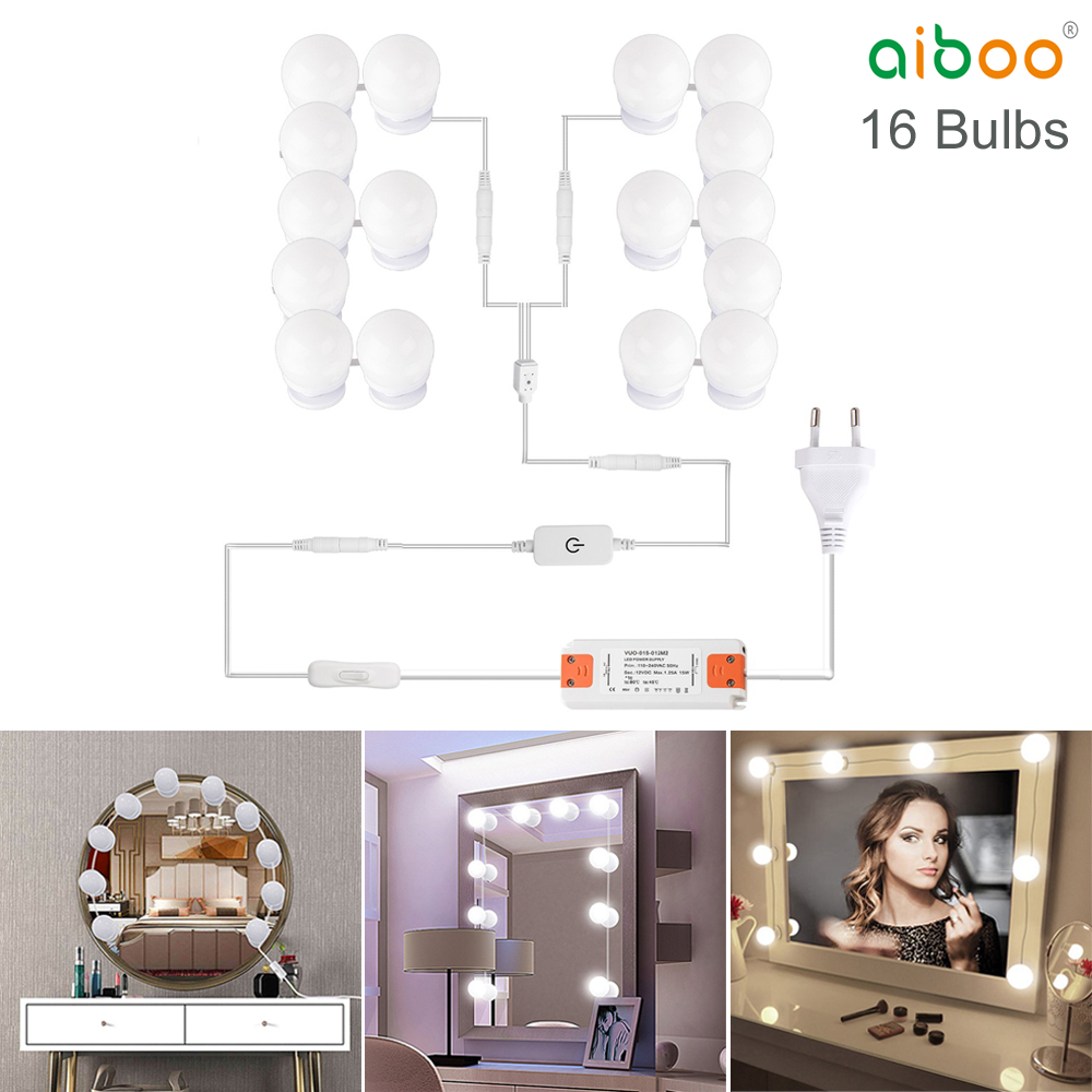 LED Vanity Hollywood Styles Makeup Mirror Lights kit bulbs for wall Dressing Table with Dimmer & Adapter Plug in 16PCS Bulb 2