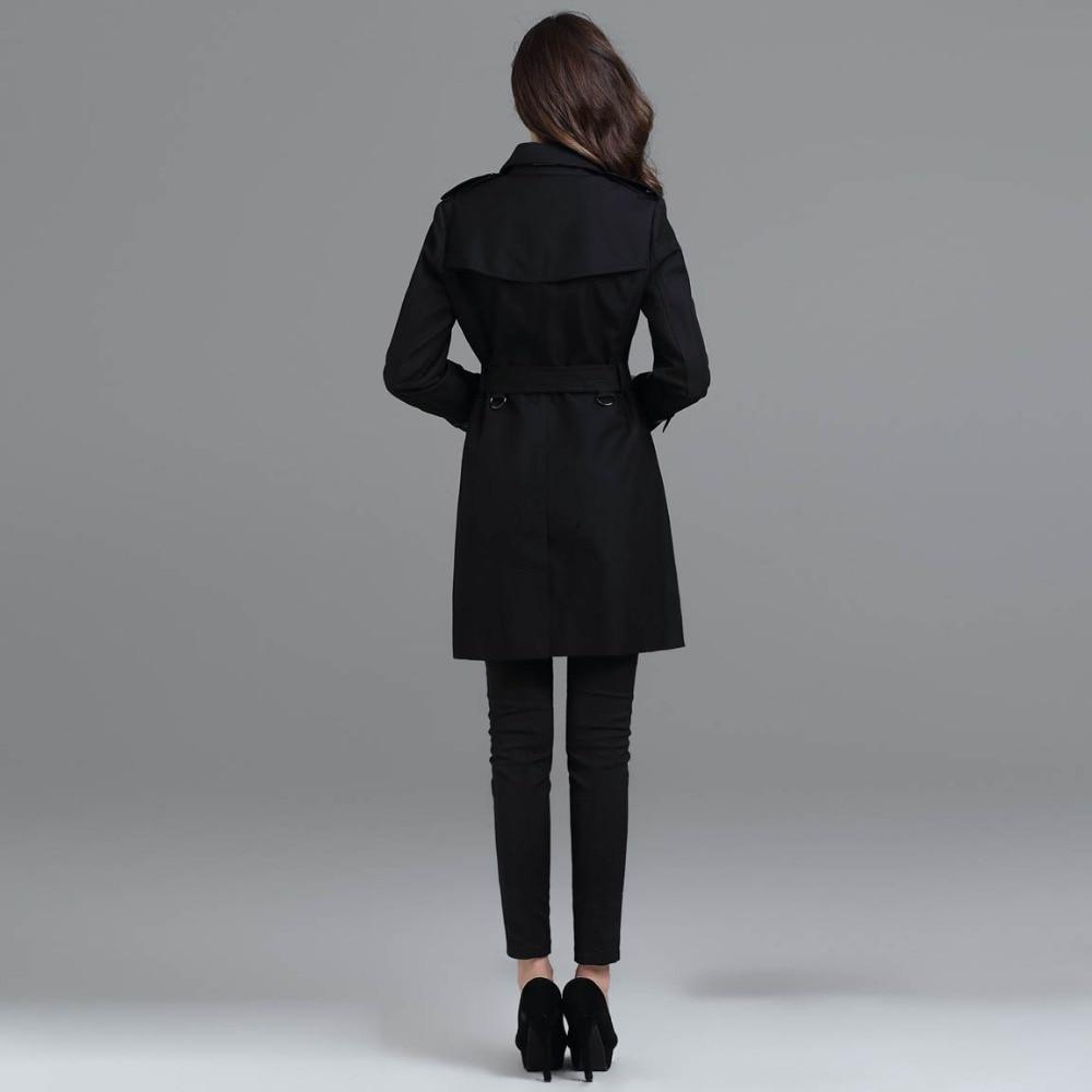 Automne Manteau Chiffon De Base Noir Long Élégant Coupe Femmes Mode kaki British Style Vêtements Trench Manteaux Hiver vent Noir 2EDIWH9