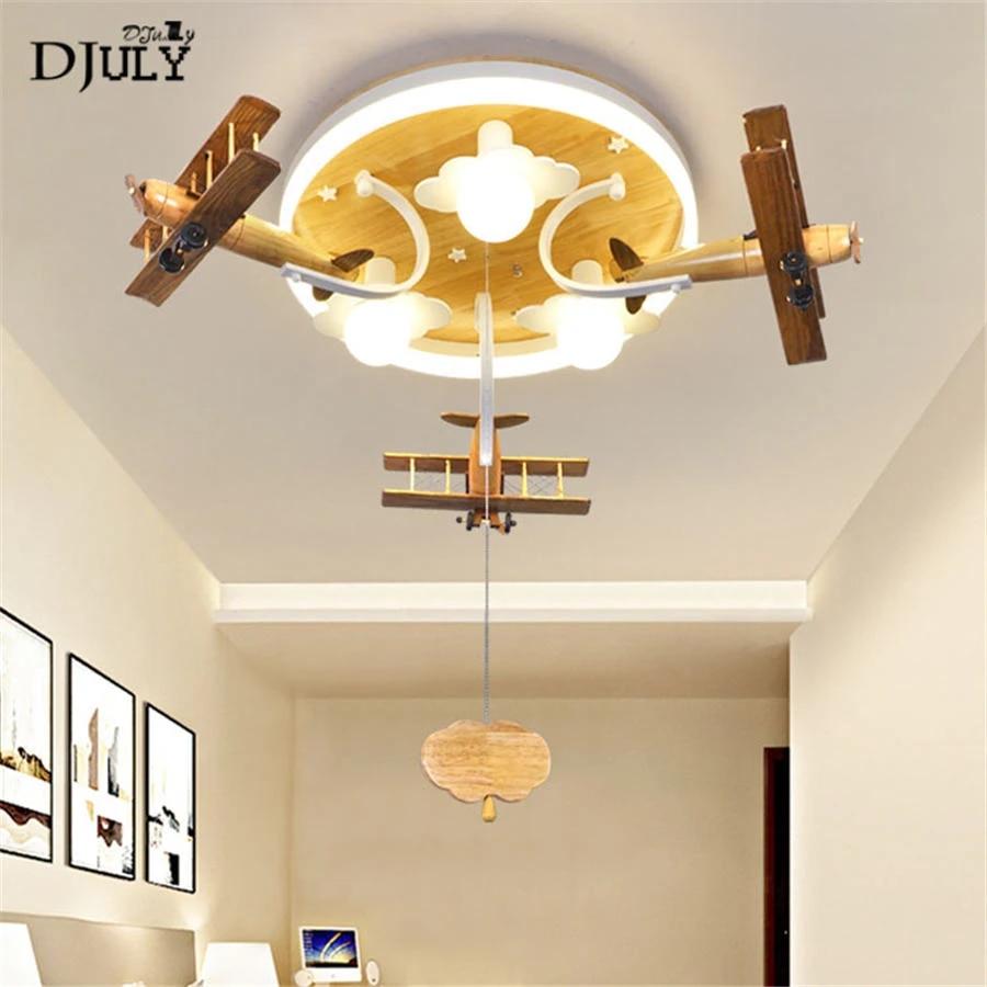 nordique bois avion nuage enfants plafonnier pour enfants chambre pepiniere salon bebe led luminaire interieur luminaires