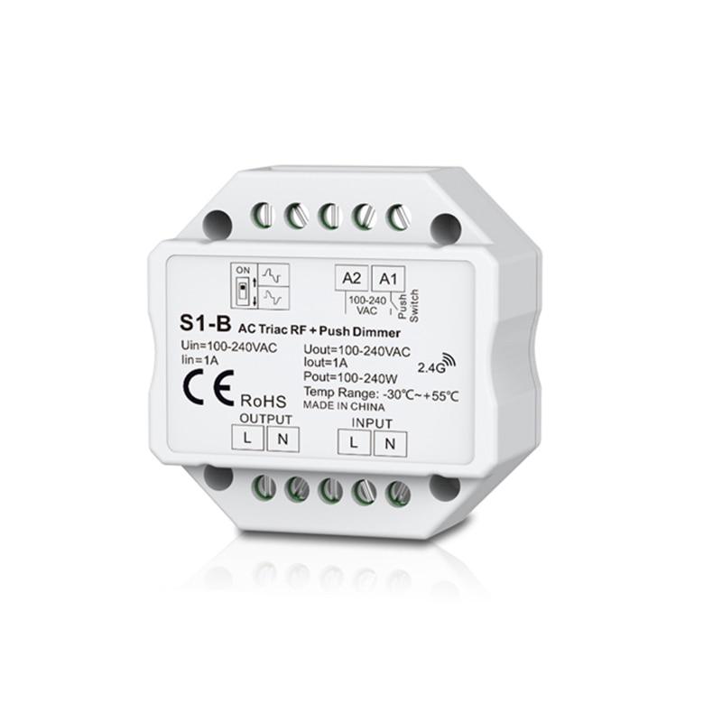 New Led Triac dimmer AC 220V Built-in Dimmer 220V 240V AC Triac RF Dimmer Output 100-240VAC 1A 240W Push Dimmer Switch S1-B