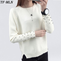 2017 Women Winter Cashmere Beading O Neck Sweater Knitted Shirt Tops Long Sleeves Loose Fshion Sweater