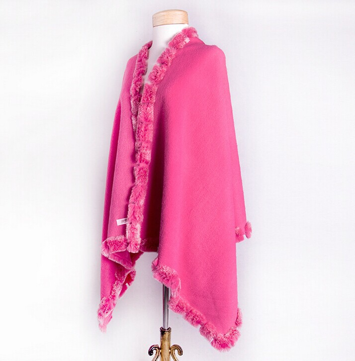Hot Pink Female 100% Wool Rabbit Fur Pashmina Autumn Winter New Style Cape Solid Color Tippet Poncho Size 180*70cm PM019-F jenni new pink solid ruffled chemise l $39 5 dbfl