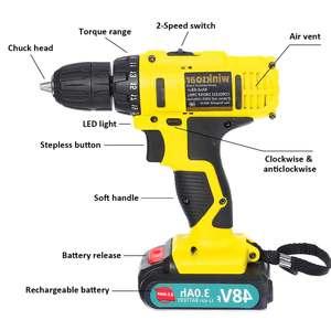 Image 3 - Destornillador eléctrico inalámbrico de 48V f, Taladro Inalámbrico, batería de ion de litio, taladro recargable de mano, controlador de potencia de impacto, iluminación LED