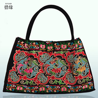 Pure Handmade Hard Case embroidery ethnic handbags women handbag flower shoulder bag Lady shopping bags embroidered colorful bag