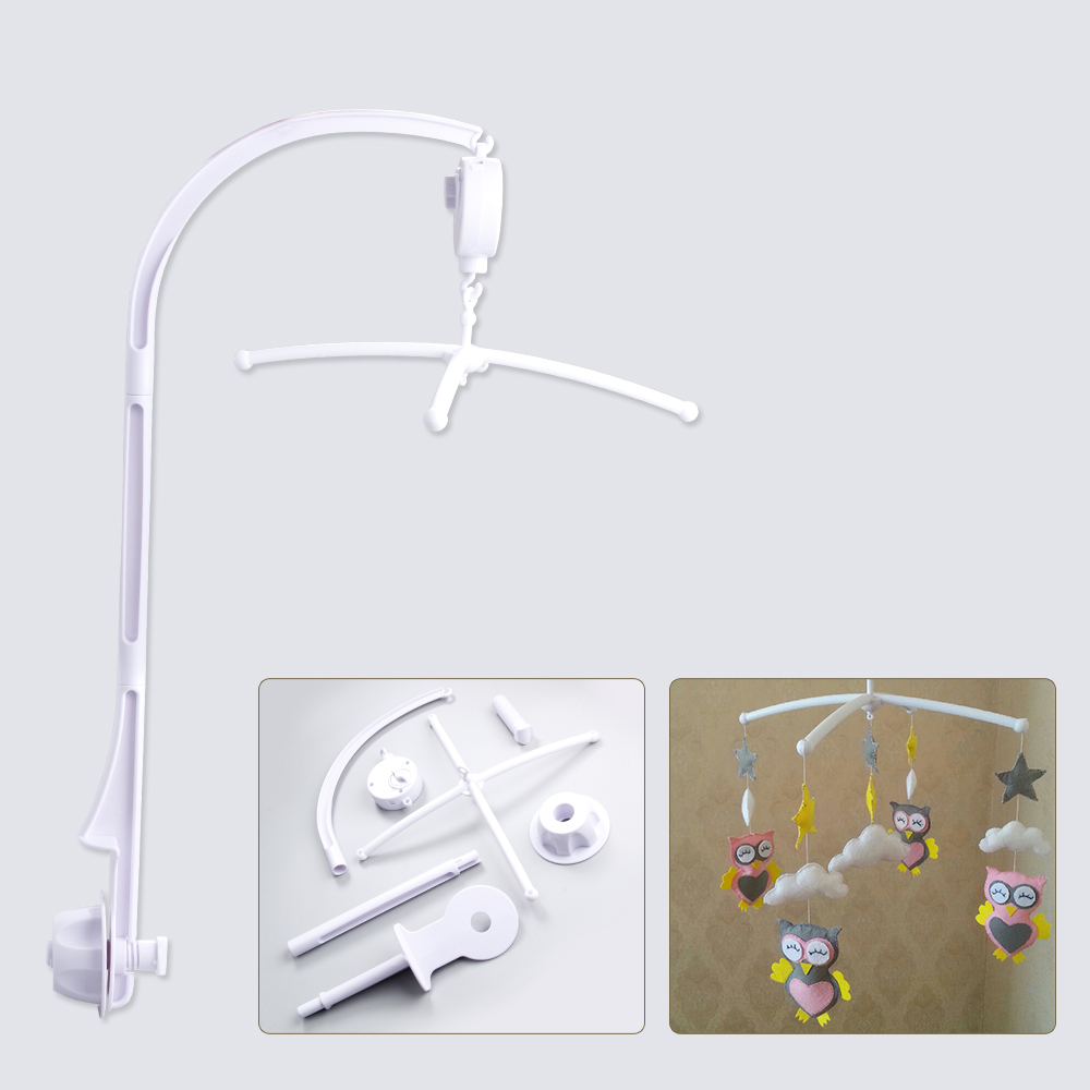 66CM Baby Toys Bed Hanging Rattles Toys White Rattles Bracket Set Infant Mobile Bed Bell Toy Holder Arm Wind-up Music Boxes Toys