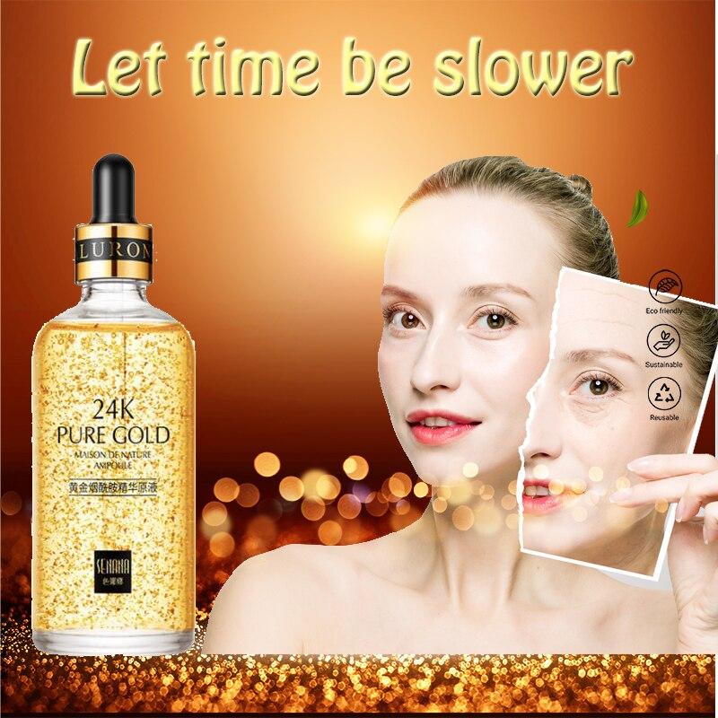 24k Yellow Gold Face Serum Anti Aging Serum Facial Lifting Collagen Essence Skin Care Whitening Acido Hialuronico Moisturizing