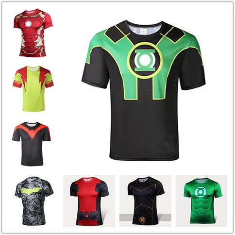74c50f592 Comics Justice League Green Lantern T Shirt Costume Superhero Sport Fitness  Men Marvel batman Compression T-shirt