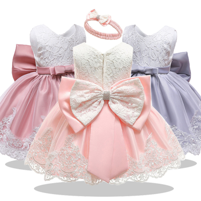 2019 Baby Girl Clothes Girls Wedding Dress For Newborn Christening Princess Dress Infant 1 Year First Birthday Girls Party Dress