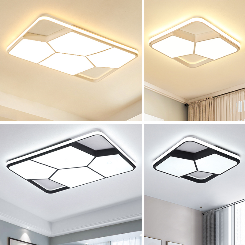 Square Ultra-thin Black/White Modern LED Ceiling Lights Living Room Bedroom Indoor Home Lighting Fixtures Ceiling Lamp Luminaria