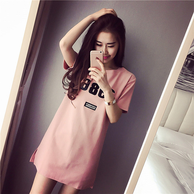 f4535e91f24 Female Summer Cotton Short-sleeved Korean Cute Loose Long Pajamas Summer  Sweet Fresh Princess Home Dress