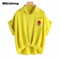 Mikialong Pocket Rose Embroidery Blouse Women Turn Down Collar Summer Tops Loose Irregular Hem Short Sleeve