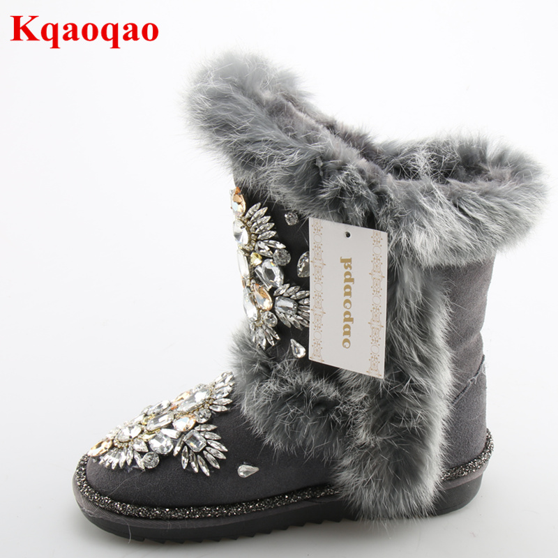 Luxury Brand Super Star Runway Shoes Warm Fur Women Snow Boots Colorful Bling Crystal Embellished Flats Short Booties Round Toe