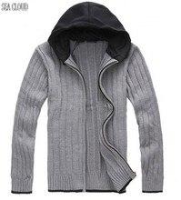 Sea Cloud Free shipping Autumn plus size fat M-6XL european big male knitted zipper cardigan with hood long-sleeve sweater