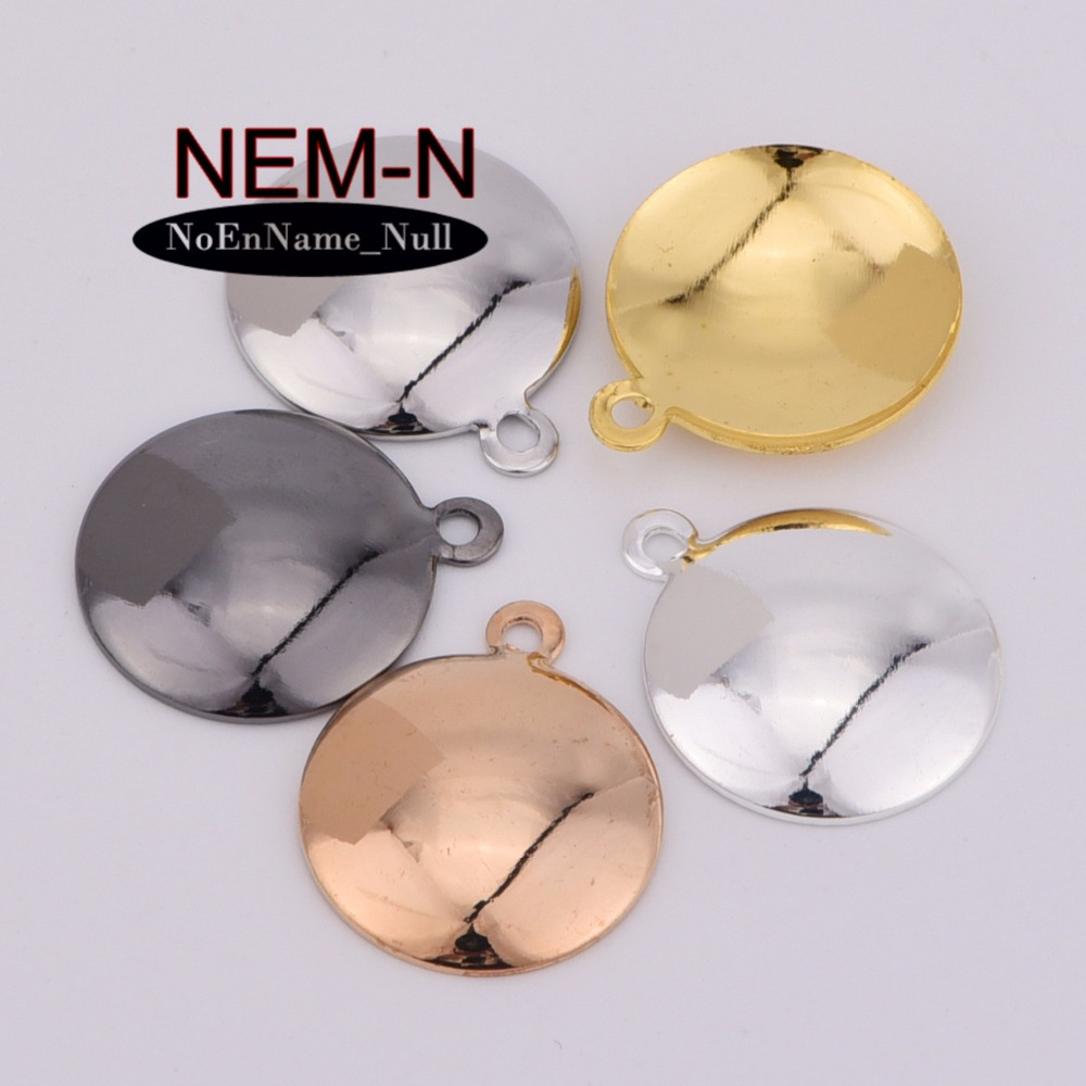 20pcs/lot NEM-N 16mm gold color arc Round cake Racket wall clock shape Center depression Findings for DIY Jewelry Making gold metal duvar saati