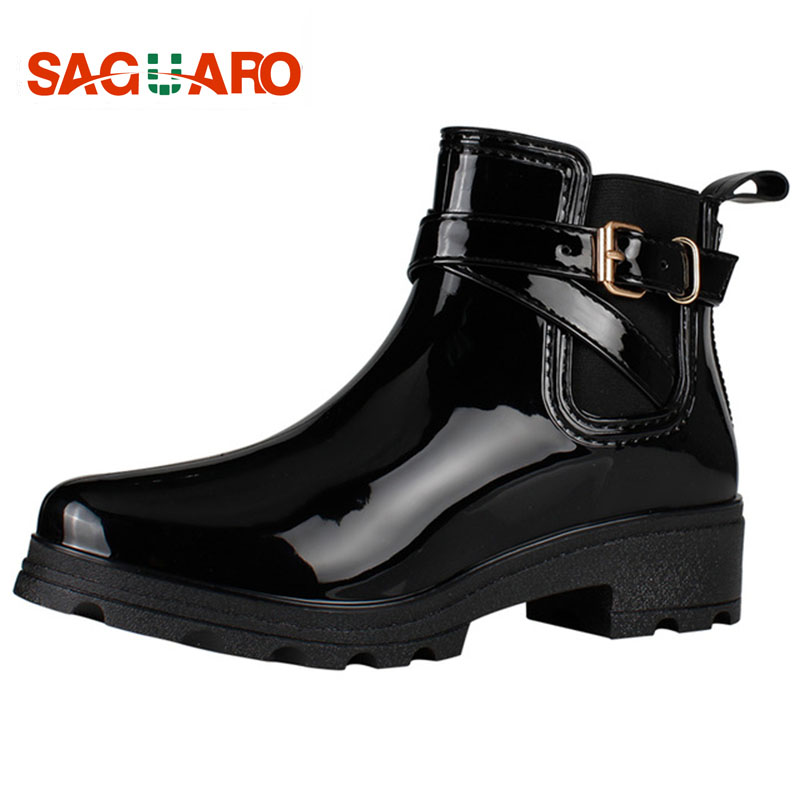 SAGUARO Rubber Boots Women Rain Shoes Fashion Ladies Walking Waterproof Ankle Boots for Women Autumn Winter Martin Rainboots image