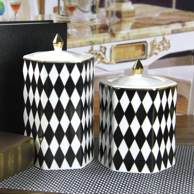 modern ceramic sugar pot organize black and white grid flower pot