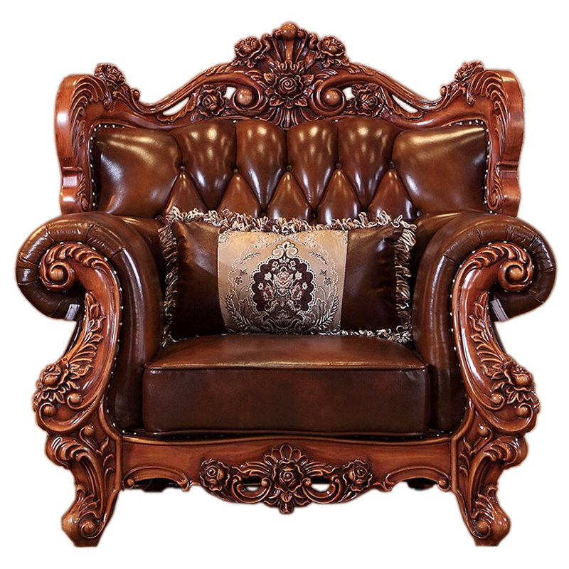 morder antique luxury classic European style solid wood leather sofa set living room furniture sofas image