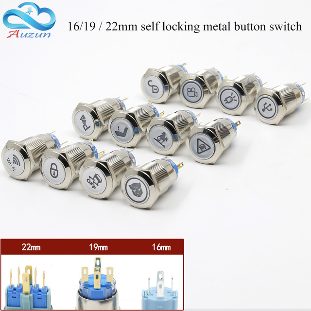 Metal push button switch 16mmm19mmm22mm self lock multiple graphics can be customized total switch 12v 24v 110v 220v usb wifi