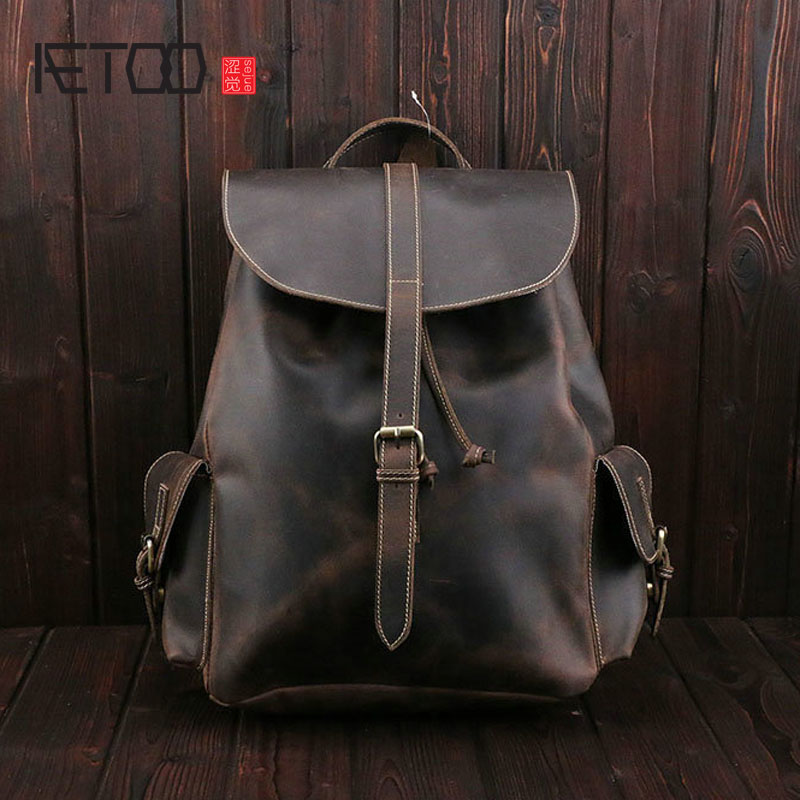 AETOO LCrazy horse leather shoulder bag retro leather men and women travel bag let you travel easily