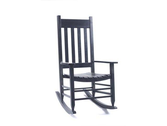 Chaise ber ante en bois pr sidentielle rocker noir ch ne for Rocking chair exterieur