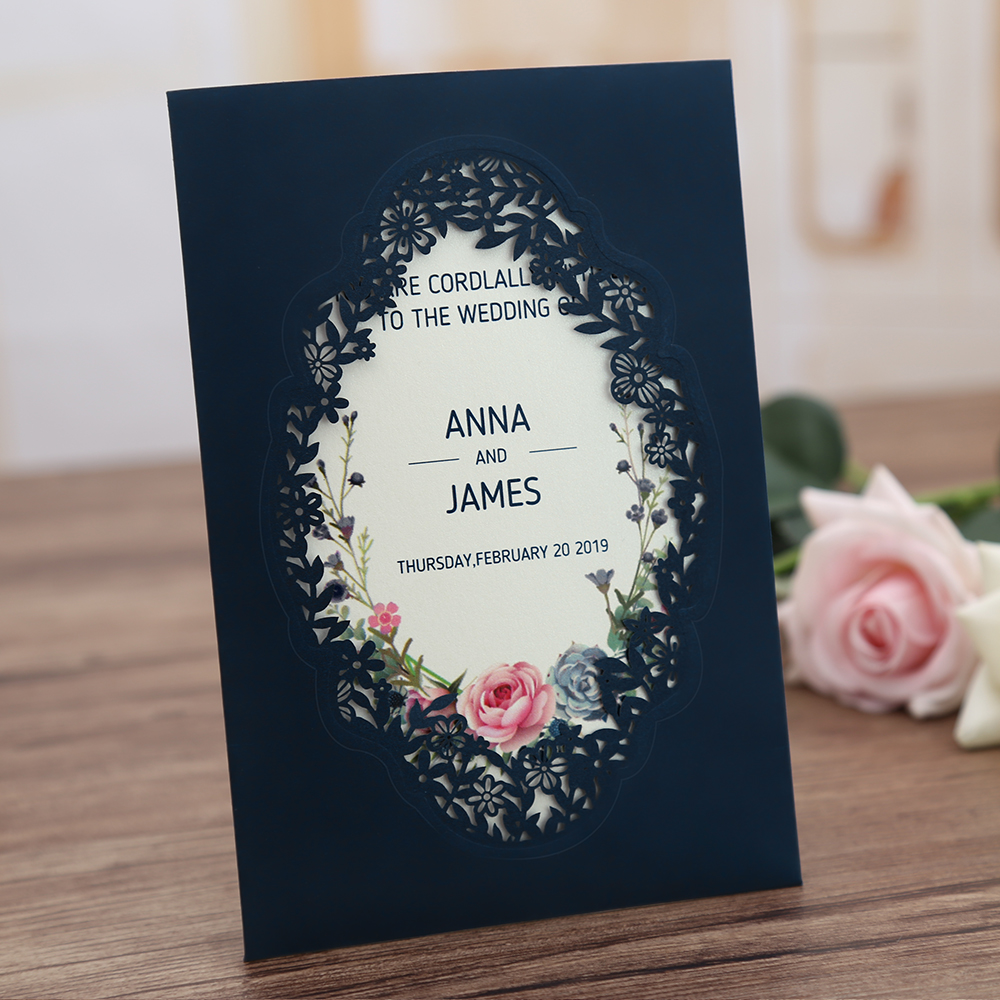 Wedding Invitations Business: 100pcs Navy Blue Pink Burgundy Gold Vertical Laser Cut