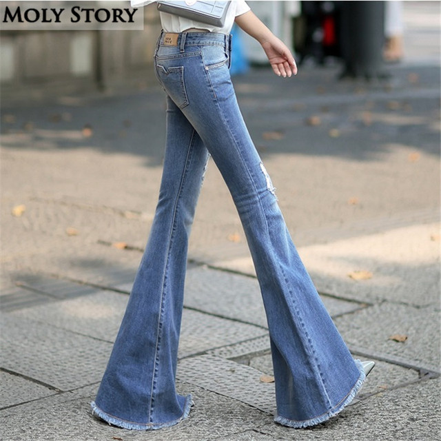 Fashion New Vintage Super Flare Jeans Sexy Middle Rise Ripped ...