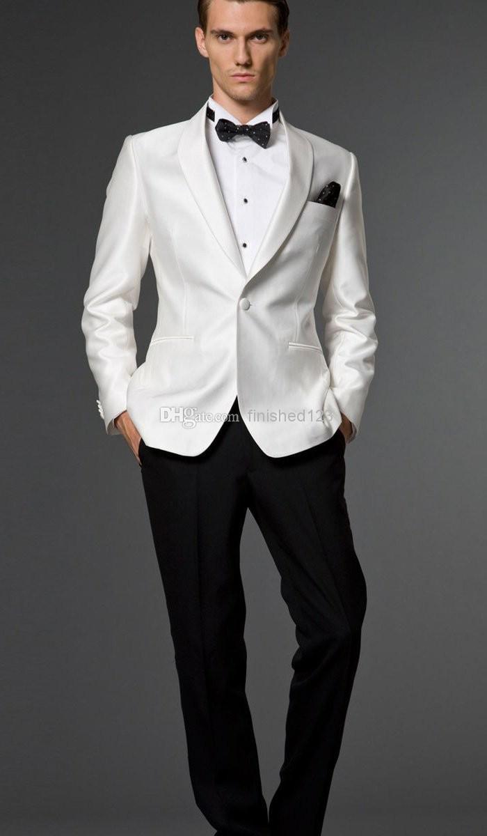 2017 One Button White Jacket Black Pants Groom Tuxedos ...