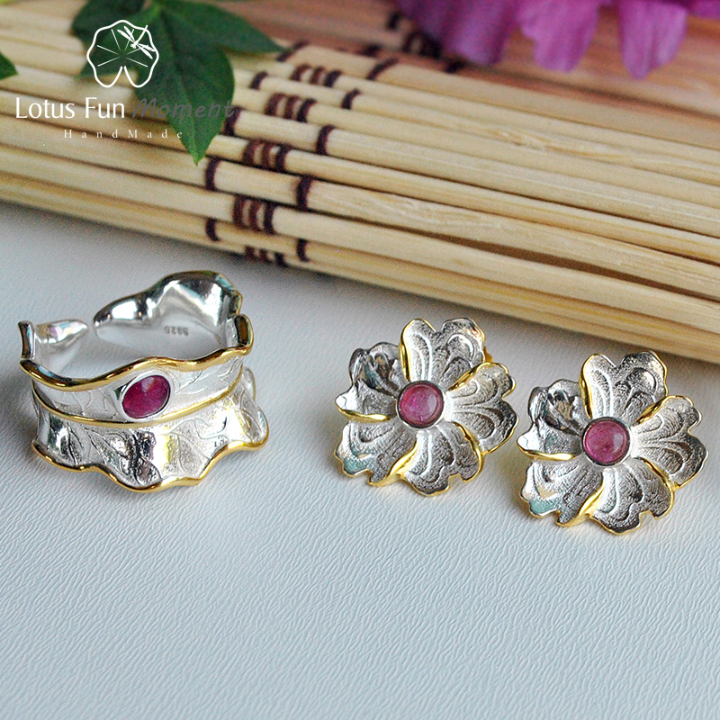 все цены на Lotus Fun Moment Real 925 Sterling Silver Natural Tourmaline Stone Original Fashion Peony Flower Jewelry Set for Women Brincos
