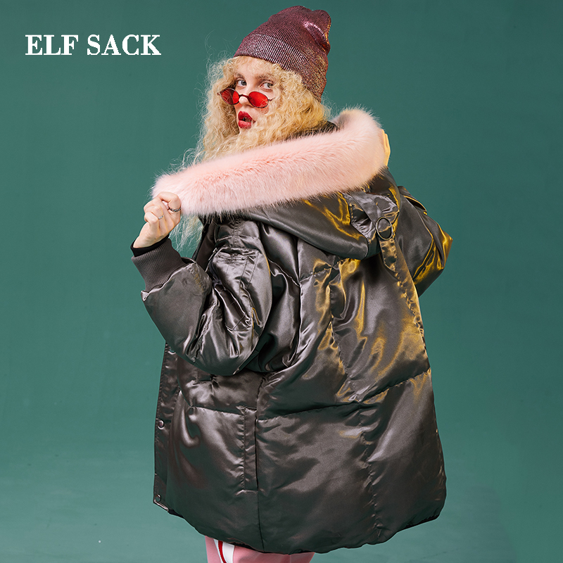 قزم SACK جديد امرأة أسفل سترة 90% الأبيض بطة أسفل معطف الصلبة الكامل واسعة مخصر عارضة أنيق للنساء الشتاء ارتداء السترات-في معاطف قصيرة من ملابس نسائية على  مجموعة 3