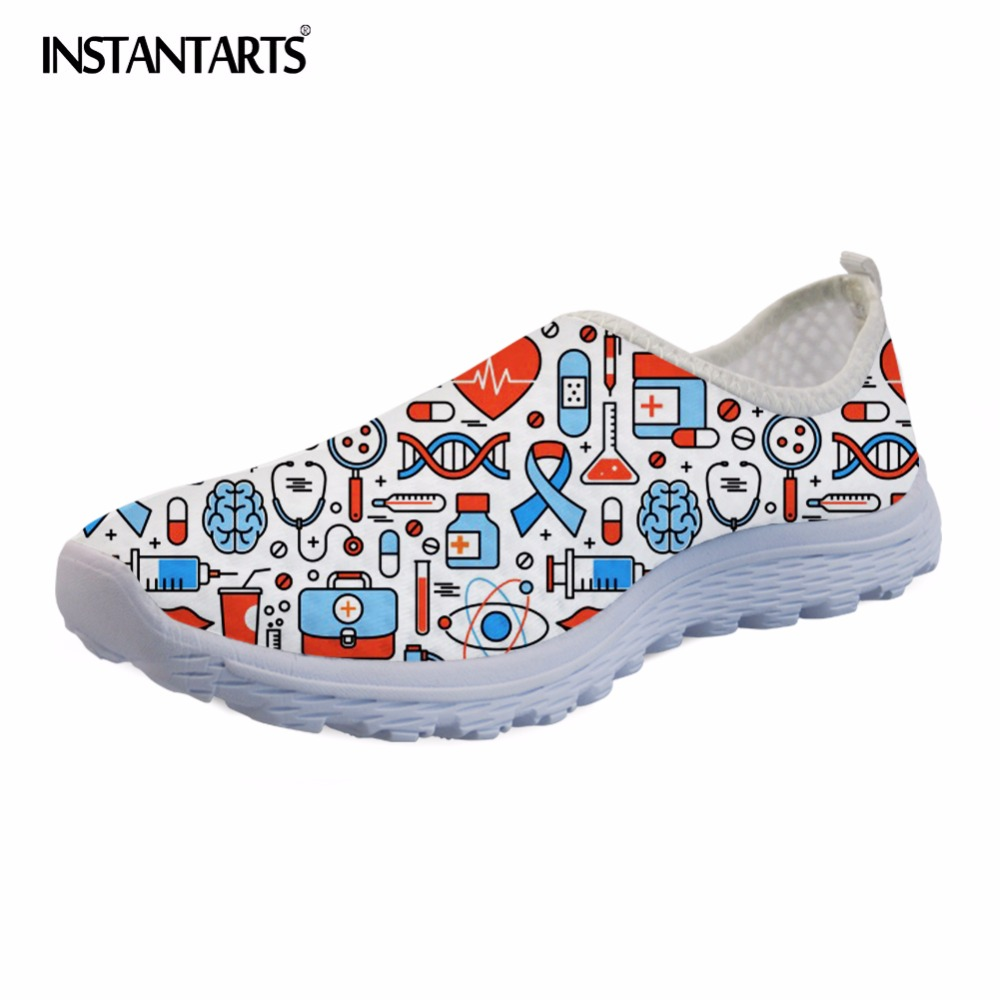 INSTANTARTS 2018 Nurse Print Women Summer Flat Shoes Light Weight Slip On Sneakers for Girls Lady Breathable Mesh Walking Flats summer women slip on loafers breathable light sole flats shoes cheap walking sneakers casual woven shoes for women nurse shoes