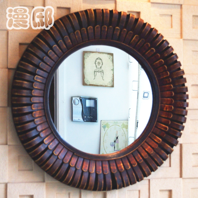 Kingart Antique Larger Bamboo And Wooden Frame Round Wall Mirror Living Room Mural Hanging Big