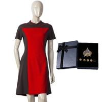 Star Dress Trek The Next Generation Women's Skant Uniform Costume ST Yellow Dress With Badge Free Halloween Party
