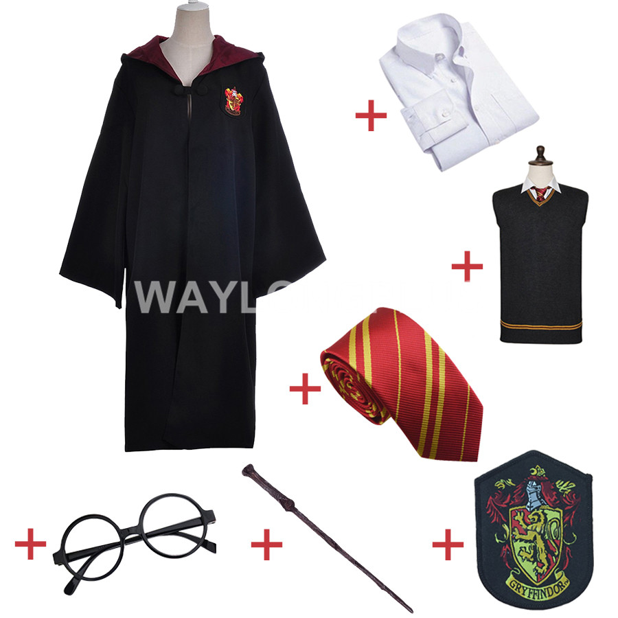 Gryffondor Uniforme Ensemble Complet Cosplay Costume Adulte Version Coton Halloween Party Nouveau Cadeau pour Harri Potter Cosplay