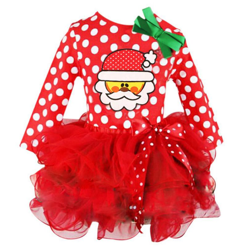 New Year Kids Baby Girls Santa Claus Letter Princess Party Dress Christmas Outfits Clothes Infant Gifts Dress For Girl sr039 newborn baby clothes bebe baby girls and boys clothes christmas red and white party dress hat santa claus hat sliders
